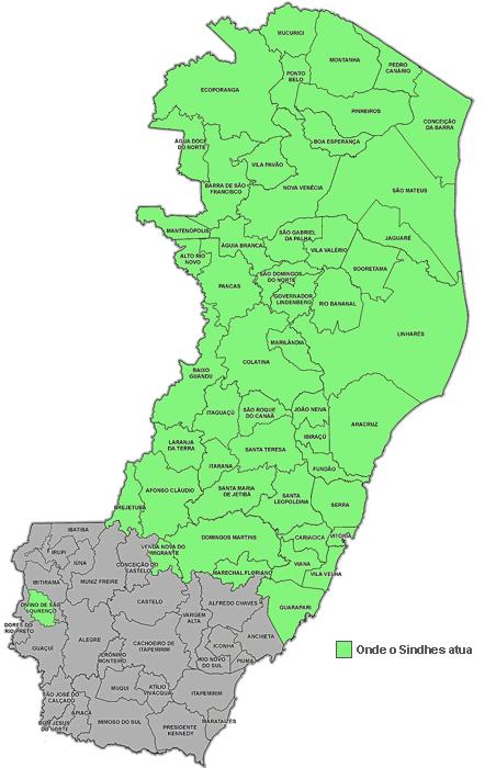 Mapa de abrangência do Sindhes no estado do ES